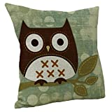 Janly Cartoon Animal Pillow Case Lovely Owl Throw Pillow Cover Decorative Cushion Cover for Sofa Seat Car Soft Pillowcase Birhday Wedding Gift (45cm*45cm, B)