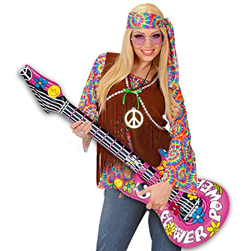 Gitarre Deko Luftgitarre Hippie Rocker Inflatable Guitar Rockstar Gummigitarre Party Gitarren Instrument Mottoparty Musikinstrument Accessoire Partydeko aufblasbar ()