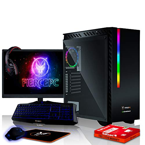 Fierce Phoenix RGB Gaming PC Bundeln - 4.0GHz Quad-Core AMD Ryzen 3 2300X, 1TB SSHD, 16GB, NVIDIA GeForce GTX 1050 2GB, Tastatur (QWERTY), Maus, 24-Zoll-Monitor, Headset 530448