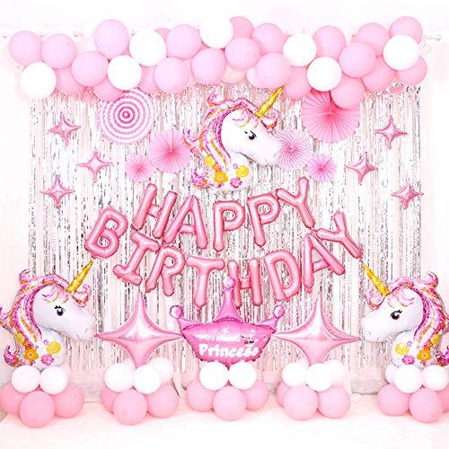 RLF LF Kinder Geburtstag Fest Rosa Einhorn-Thema Luftballons Zubehr Set, Karikatur Brief Geburtstagsdeko Aluminiumfolie Dekorationen Luftballonsets, Mädchen Jungen Geburtstagsfeier Balloons Deko,A
