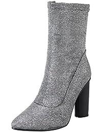 AllhqFashion Damen Blend-Materialien Hoch-Spitze Ziehen auf Wasserdicht Plattform Stiefel, Schwarz, 34