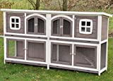 nanook XXL Double Rabbit Hutch - Double Tier - Weatherproof - 211 x 52 x 107 - Color: Taupe / White - Extra Large