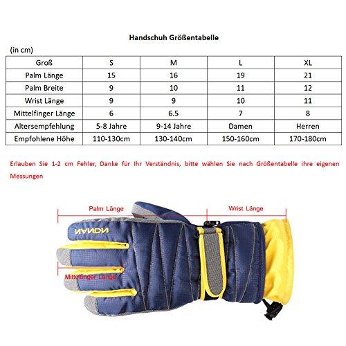 Rmine Ski Handschuhe Winddicht Regendicht Thermohandschuhe für Herren Damen Junge Kinder (Gelb, S (5-8 jahre)) - 4