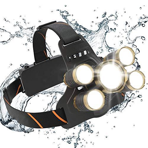 KIOio Fokussieren Laden 5led Scheinwerfer Power Flashlight, 2500 Lumen USB aufladbare Scheinwerfer, 18650 Akku