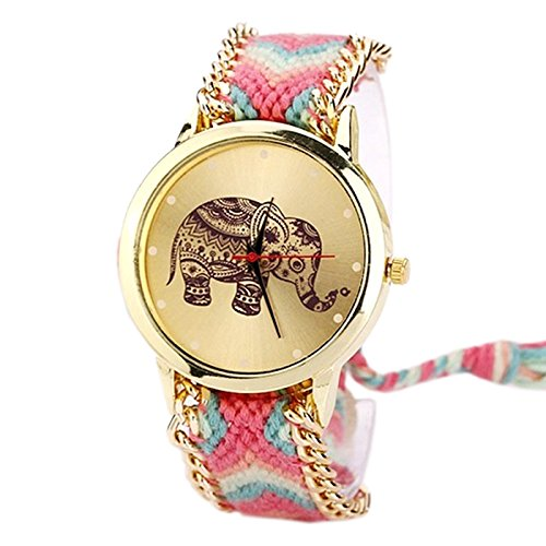 Amaxing Elephant Friendship Bracelet Quartz Watches for Girls / Womens