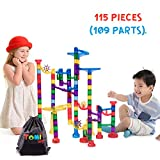 Tomi Toys Murmelbahn Super Set - 109 Stück (84 Bahnteile + 25 Glaskugeln) - Murmelbahn für Kinder ab 4-6 Jahren Murmelbahnset für Bildungszwecke - STEM Bau-Spielzeug - Mit Aufbewahrungsrucksack