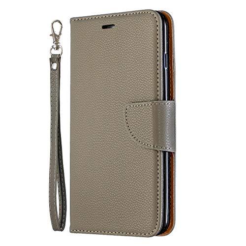 NEXCURIO iPhone 6S Plus/6 Plus Hülle Leder, Handyhülle Tasche Leder Flip Case Brieftasche Etui mit Kartenfach Stoßfest Schutzhülle für Apple iPhone 6SPlus/6Plus - NEBFE130016 Grau