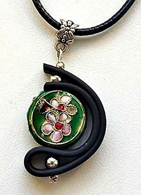 Pendentif perle cloisonnée verte