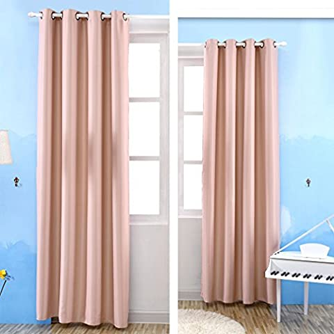 Kinlo® 2 stück 145 x 245cm Blickdicht Ösen Gardine Vorhang