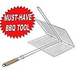 Extra große Grilling Portable Stahl verchromt BBQ Grillkorb mit langen Eichenstiel für Fisch, Gemüse, Steak, Garnelen, Koteletts-Great und nützliche BBQ-Werkzeug. Präfekt Geschenk für Papa