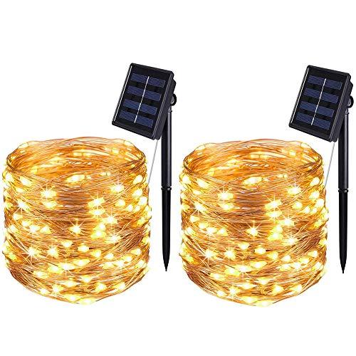 Bolweo Lichterkette mit Solarfee, warmweiß, 50 LEDs, wasserdichte Kupferdraht, Beleuchtung für drinnen und draußen, Weihnachtsbaum, Halloween, Zuhause, Garten Dekoration
