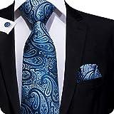 Set Hi-Tie de pañuelo y corbata de seda con estampado de cachemir, y gemelos, para...
