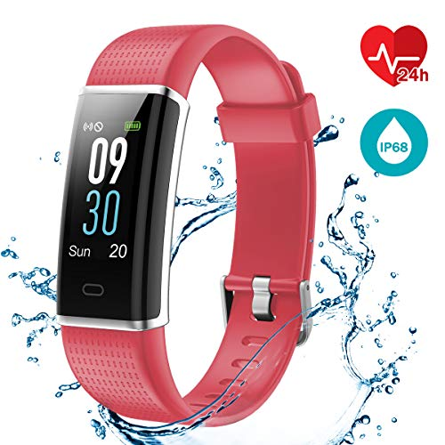 Fitness Tracker [Schermo a colori], LATEC Cardiofrequenzimetro Activity Tracker Impermeabile IP68 Braccialetto Intelligente Pedometro con 14 modi di sport Meteo Monitor di sonno Chiamata SMS Notifica