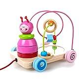 Rolimate Jouet éducatif en Bois 4 en 1, Perruque en Perles + Voiture à Pousser et Pousser + Tri et empilage Jouets pour bébés + Miroir, Jouet Cadeau d'anniversaire pour 3 Ans 4 5 Ans