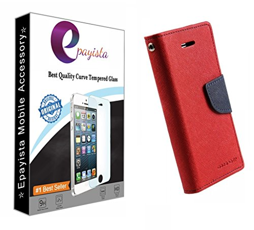 Amazon Presents Imported & 100% Original Mercury Goospery Fancy Diary Card Wallet Flip Case Cover For Samsung Galaxy S Duos S7562 / GT-S7562 / S7582 (Hot Red) + 2.5D & 0.3mm Pro Curve Tempered Glass With FREE Installation Kit  available at amazon for Rs.299