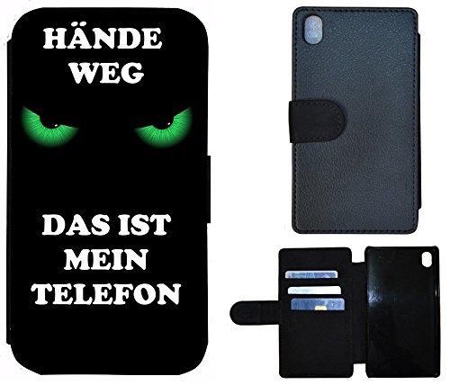 Schutz Hülle Flip Cover Handy Tasche Etui Case für (Apple iPhone 6 / 6s, 2011 Meins Finger Weg Rot Schwarz) 2006 Hände weg das ist mein Telefon Grün Schwarz