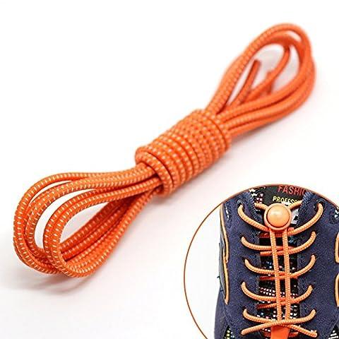 Lugii Cube Couleur élastique Lacets No Tie Lacets élastiques pour enfants et adultes–stretch Lacets de chaussures pour chaussures de sport, Orange