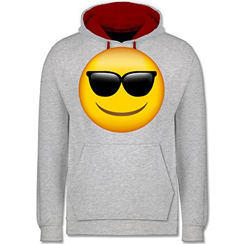 Comic Shirts - Emoji Sonnenbrille - Kontrast Hoodie Grau Meliert/Rot
