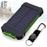 TTPLANET Solar Ladegerät 20000mAh Dual USB Akku Pack Portable Telefon Solar Power Bank mit LED Licht für iPhone, iPad, iPod, Handy, Tablet, Kamera (Grün)