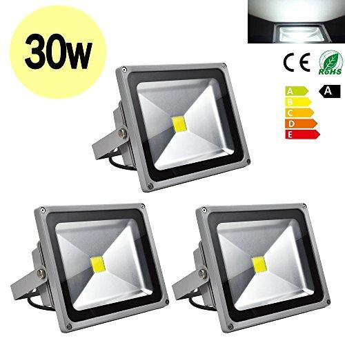 Hengda® 3x 30w LED Wandleuchter Fluter Flutbeleuchtung Strahler Flutlicht Scheinwerfer IP65 Außen Smd Kaltweiß AC 85-265V