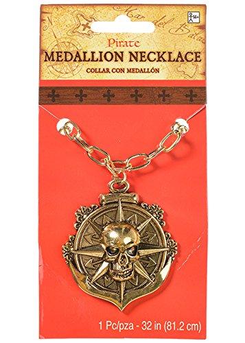 Karibische Piratenschädel-Medaillon-Halskette (Sparrow Medaillon)