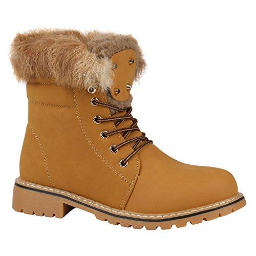 Stiefelparadies Warm Gefütterte Damen Stiefeletten Fell Worker Boots Outdoor Schuhe Flandell Hellbraun Camiri
