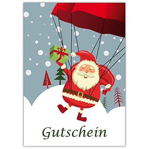 1 Lustige Weihnachtskarte (Mengenrabatt) als Gutschein zu Weihnachten mit Fallschirm springendem Weihnachtsmann