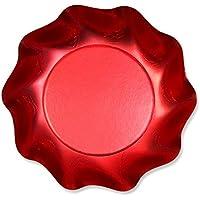 Piatto Coppetta Rosso Satinato 10Pz diam.18,5cm