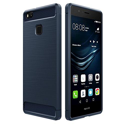 Simpeak für Huawei P9 Lite Hülle Blau, Premium Weiche Karbonfaser Elastisch Schützendes Rückseiten-Case für Huawei P9 Lite [Fallschutz] [rutschfest] [Kratzfest]-Blau