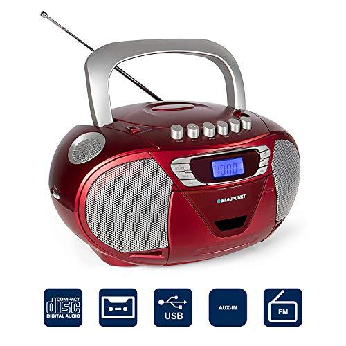 Blaupunkt B 110 RD tragbarer Kinder CD Player, Hörbuch Funktion, USB, Kassettenplayer, tragbares CD-Radio, Aux In, Kopfhöreranschluss, LED-Display, 2x 2,2 Watt RMS, PLL UKW Tuner, Rot