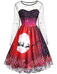 ZEZKT Weihnachten Party Elegant Abendkleid- Retro Rockabilly Minikleid Kleidung Mini Mesh Brautkleid Cocktailkleid 3/4 Arm Christmas Dress