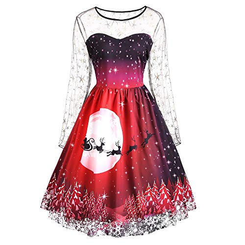 (Linkay Ladies Women Merry Christmas Dresses Print Top Long Sleeve Mesh Evening Party Vintage)
