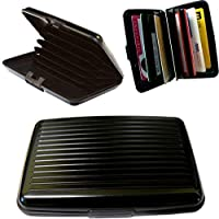 ‏‪BUSINESS TRAVEL ID CREDIT CARD HOLDER WALLET ALUMINUM METAL POCKET CASE BLACK‬‏