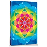 Mandalas - Flor De La Vida, Arcoíris Cuadro, Lienzo Montado Sobre Bastidor (120 x 80cm)