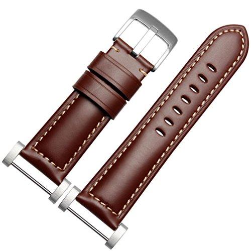 Kingko® 24mm Breite PU-Leder-Nadel-Wölbung Ersatz-Band-Bügel + Lugs Adapter für Suunto Core (Braun) (Nadel Interlock Aus)