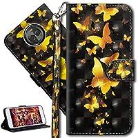 HMTECH Moto E5 Hülle Luxus 3D Gold Schmetterling Blumen Flip Standfunktion Karten Slot Magnetverschluß Brieftasche... preisvergleich bei billige-tabletten.eu