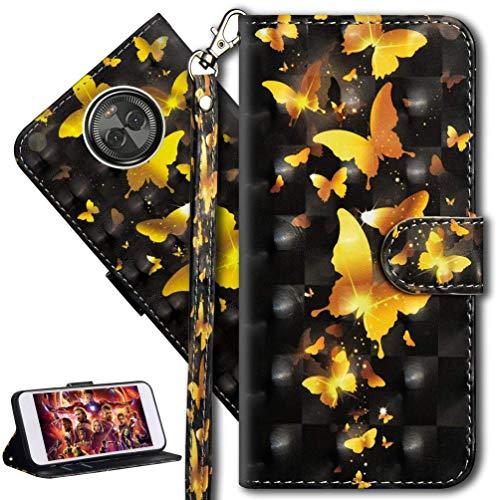 HMTECH Moto X4 2017 Hülle Luxus 3D Gold Schmetterling Blumen Flip Standfunktion Karten Slot Magnetverschluß Brieftasche Taschen Schalen Handy Ledercase für Moto X4 2017,Gold Butterflies