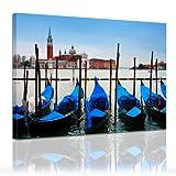 """Bilderdepot24 Bild auf Leinwand """"Venedig Gondeln"""" 40x30cm - fertig gerahmt, direkt vom Hersteller"""