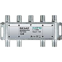 Axing BVE 8-01P 8-Fach Verteiler Kabelfernsehen CATV Multimedia DVB-T2 Klasse A+, 10dB, 5-1218 MHz Metall