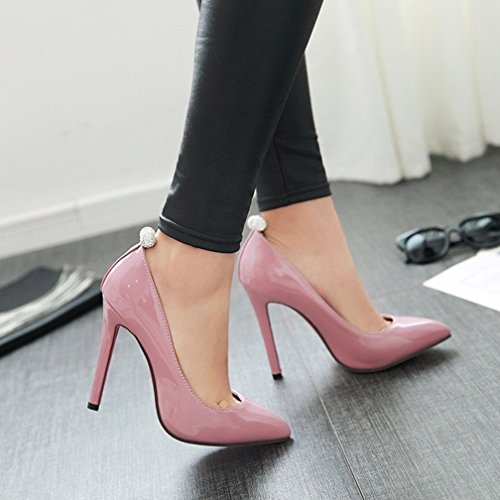 YE Damen Spitze High Heels Stiletto Lack Pumps mit Roter Sohle Strass Party Office Kleid Schuhe Rosa