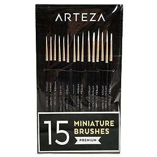 Arteza Pinselset — Malpinsel für Feine Details — Handgefertigt mit Taklon Borsten — 15 Pinsel für Aquarell Öl Acryl Nail Art & Modelle