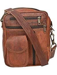 "Handcraft's ""james"" Genuine Leather Unisex Vintage Brown Sling Bag Shoulder Bag"