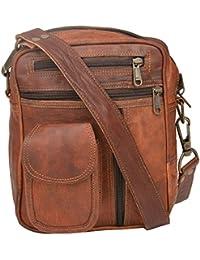 """Handcraft's """"james"""" Genuine Leather Unisex Vintage Brown Sling Bag Shoulder Bag"""