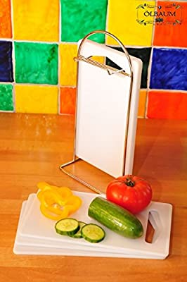 6 Picknick Küchenbrettchen Set MIT STÄNDER, Edelstahl / Kunststoff 7-tlg. Set, massive, hochwertige Picknick-Schneidebrettchen weiß, mit abgerundeten Kanten, Maße viereckig je ca. 25 cm x 15 cm als Bruschetta-Servierbrett, Brotzeitbrett mit Griff, Picknic
