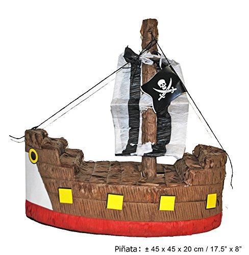Dekoration - Piraten Schiff - Tolles Geschenk für Kindergeburtstag, Hochzeit oder Mottoparty (Schatzkiste Pinata)