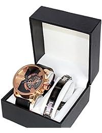 Reloj para hombre de acero inoxidable collar de los hombres grandes Dial Acero inoxidable