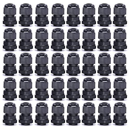 Gebildet 40 Stk M16 x 1,5 Kabelverschraubung, PG9 schwarz wasserdichte Kabelverschraubungen mit Gegenmutter Kunststoff, Kabelsteckverbinder Verstellbare, Kabelverschraubungen Gelenke -