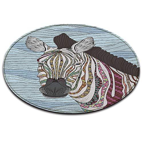 LB Runder Teppich, Tier Zebra Gemustert Weich Waschbar Innenteppich Fußmatte/Türmatte/Spielmatte für Wohnzimmer Schlafzimmer Kinderzimmer,Durchmesser von 80cm