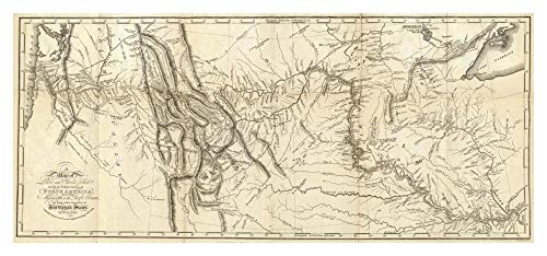 Global Gallery Map of Lewis and Clark's Track quer The Western Portion of North America, 1815 Papierkunst, 106,7 x 50,8 cm -