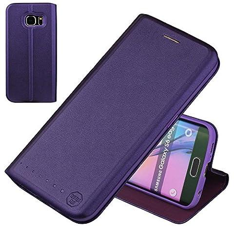 Nouske étui à rabat Folio en cuir pour Samsung Galaxy s6 Edge, Cover Coque TPU Porte cartes avec Support Protection intégrale, Violet.